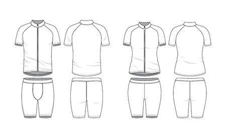 Leere Kleidungsvorlagen. Shirt mit Reißverschluss und Raglanärmeln und Trainingsshorts vorne, hinten. Sportbekleidung, Fahrradtuch. Vektor-Illustration. Männliche und weibliche Kleidung. Getrennt auf Weiß. Vektorgrafik