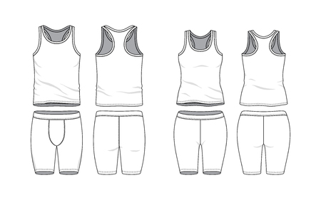 Blank clothing templates. Tank top and training short in front, back views. Sport wear, gym cloth. Vector illustration. Male and female clothes set. Isolated on white background. Ilustração