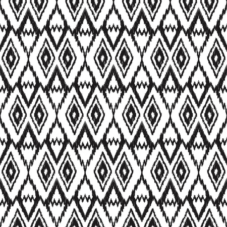 Black and white ikat seamless background. Tribal pattern. Vector illustration for textile, wallpaper, card or wrapping paper. 向量圖像