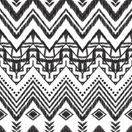 Chevron seamless pattern. Black and white Ikat background. Tribal vector illustration for textile, wallpaper, card or wrapping paper. Standard-Bild