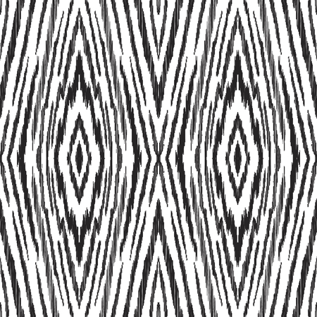 Black and white ikat seamless pattern in uzbek, ottoman style. Ethnic background. Textured vector illustration for textile, wallpaper, card or wrapping paper. Ilustração