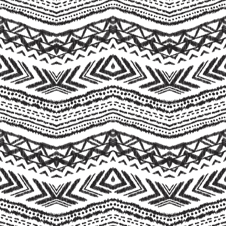 Black and white Ikat seamless pattern. Textured background. Tribal vector illustration for textile, wallpaper, card or wrapping paper.