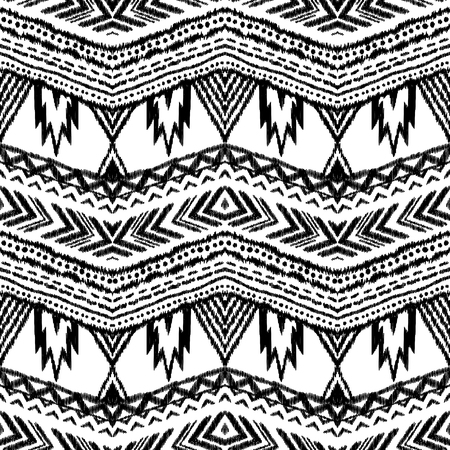 Ikat seamless pattern in mexican, indian style. Black and white background. Tribal vector illustration. Textured wallpaper.