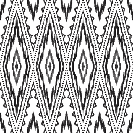 Black and white ikat seamless pattern in uzbek, ottoman style. Ethnic background. Textured vector illustration for textile, wallpaper, card or wrapping paper.