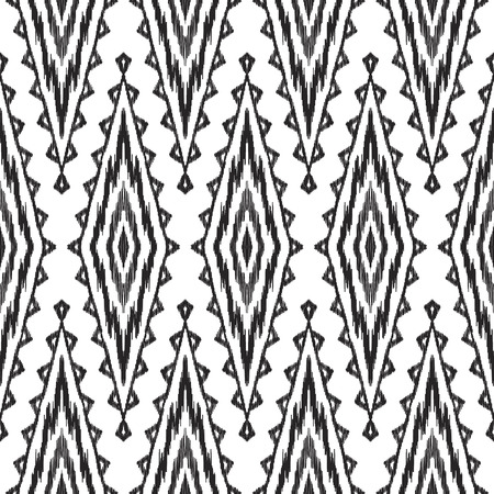 Black and white ikat seamless pattern in uzbek, ottoman style. Ethnic background. Textured vector illustration for textile, wallpaper, card or wrapping paper. Stock Photo