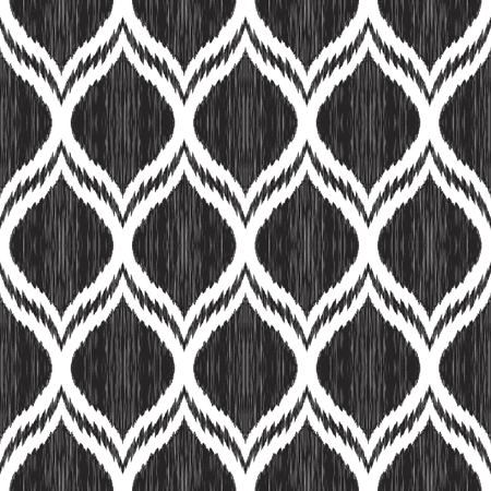 Black and white Ikat pattern. Tribal textured background. Ogee ornament. Seamless boho design element. Vector illustration for textile, wallpaper, wrapping paper.