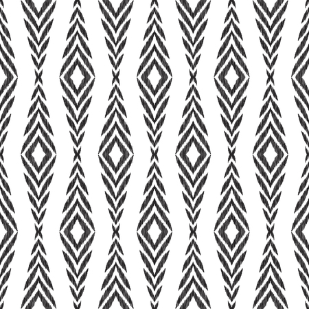 Seamless pattern for home decor ideas. Ikat chevron wallpaper. Ethnic, indian, aztec fashion style. Pillow textile decoration. Tribal vector background. Black and white graphic design. Stok Fotoğraf