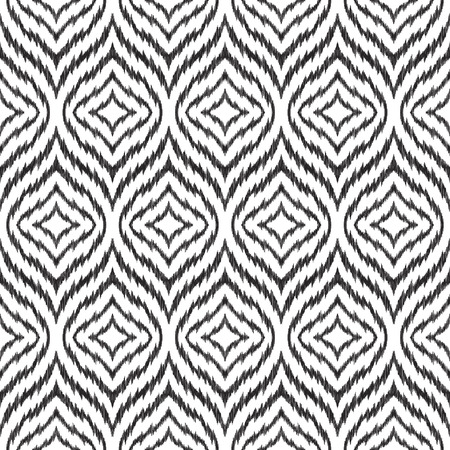 Ikat ogee seamless pattern. Can be used for textile, wallpaper, wrapping paper, greeting card background, phone case print. Black and white graphic vector design. Abstract ornament in ethnic style. Stok Fotoğraf