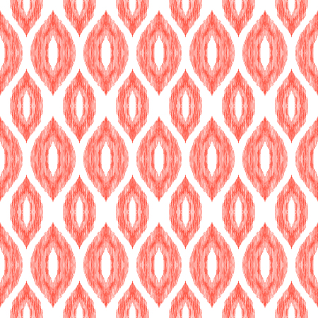 Ikat pattern. Tribal textured background. Ogee ornament. Seamless boho design element. Vector illustration for textile, wallpaper, wrapping paper.