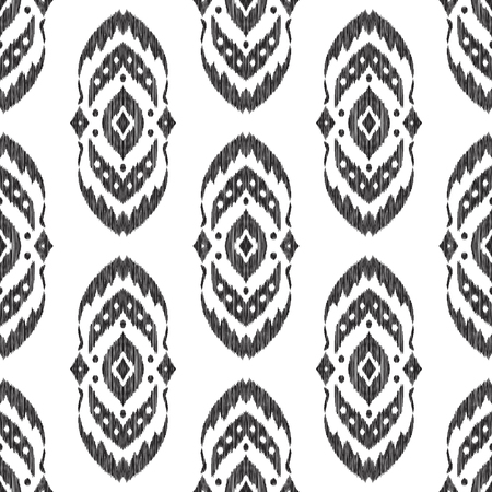 Ikat seamless pattern. Fancy textile design. Vector illustration in ethnic style.