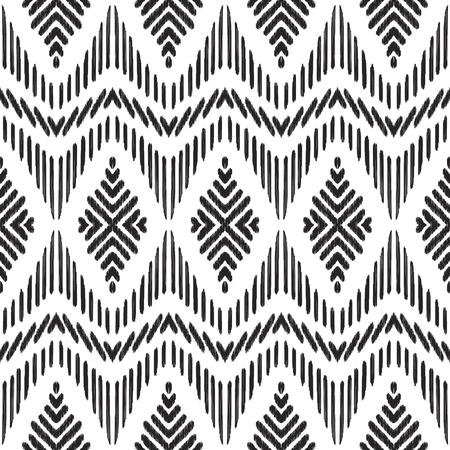 Tribal seamless background. Geometric pattern. Black and white texture. Vector illustration. Stylish ikat print.