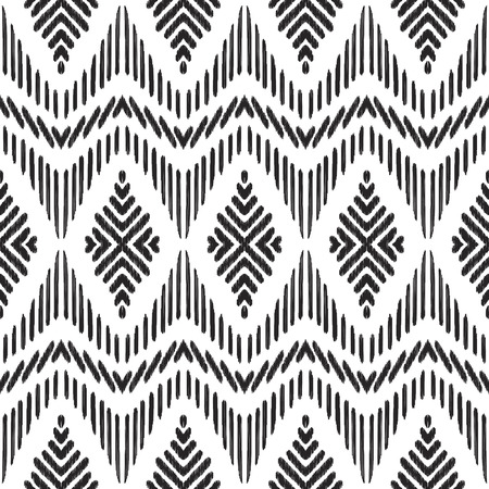Tribal seamless background. Geometric pattern. Black and white texture. Vector illustration. Stylish ikat print.