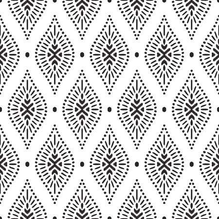 Tribal seamless background. Geometric pattern. Black and white texture. Vector illustration. Stylish ikat print. Damask style. Stok Fotoğraf