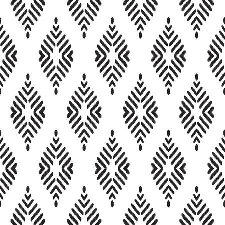 Tribal seamless background. Geometric pattern. Black and white texture. Vector illustration. Stylish ikat print. Damask style. Stock Photo