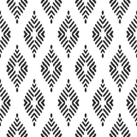 Tribal seamless background. Geometric pattern. Black and white texture. Vector illustration. Stylish ikat print. Damask style. 版權商用圖片
