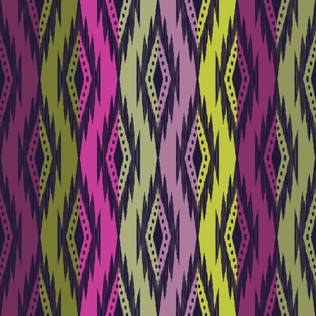 Tribal seamless background. Colorful geometric pattern. Colorful texture. Vector illustration. Stylish ikat print. Atzec, navajo style. Illustration