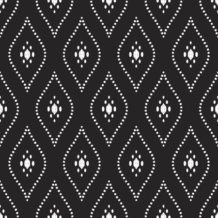 Tribal seamless pattern. White elements on the black background. Vector illustration. Stylish ikat print. Damask style.