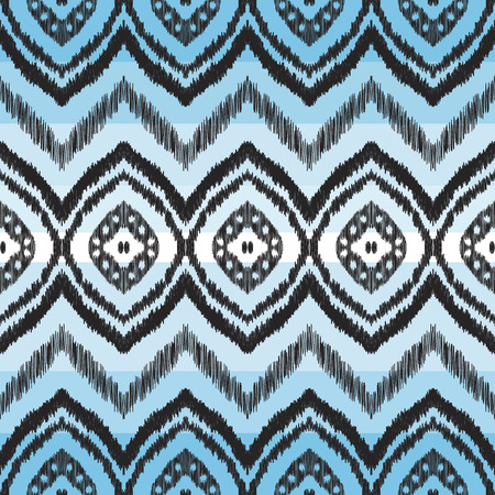 Chevron seamless pattern in aztec style. Black texture on the blue striped background. Can be used for textile, wallpaper, card or wrapping paper.