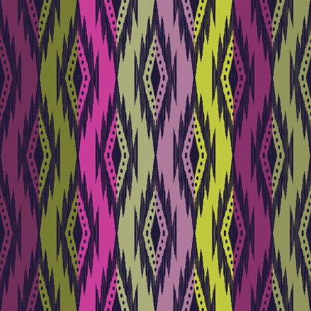 Tribal seamless background. Colorful geometric pattern. Colorful texture. Vector illustration. Stylish ikat print. Atzec, navajo style. Stok Fotoğraf