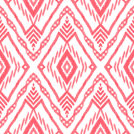 Abstract seamless background. Ethnic ikat ornament. Red and white vector illustration. Tribal pattern. Can be used for textile, wallpaper, wrapping paper, greeting card backdrop, print. Stok Fotoğraf