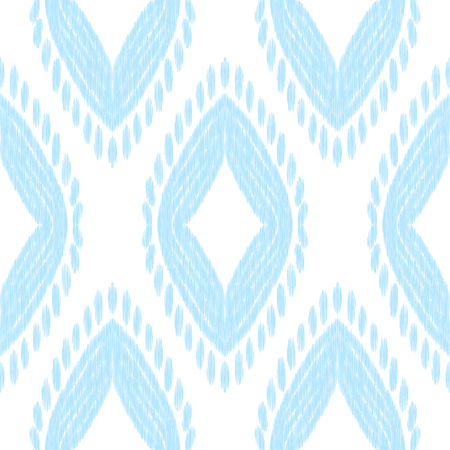 Ikat seamless pattern in uzbek, ottoman style. Ethnic background. Blue and white texture. Vector illustration for fabric, wallpaper, card, wrapping paper, pillow cover, bed lining. 矢量图像