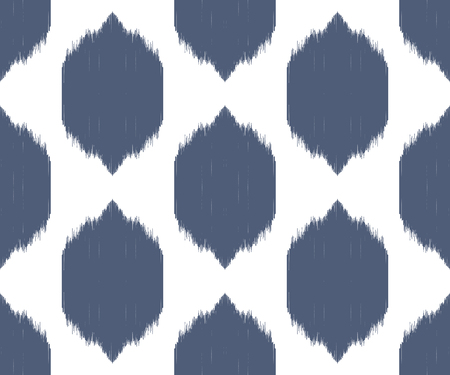 Ikat seamless pattern in uzbek, ottoman style. Ogee background. Ethnic surface design. Blue and white texture. Vector illustration for fabric, wallpaper, wrapping paper, pillow cover, bed lining.