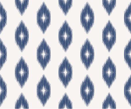 Ikat seamless pattern in ottoman style. Ethnic background. Blue and white texture. Vector illustration for fabric, wallpaper, card, wrapping paper, pillow cover, bed lining.