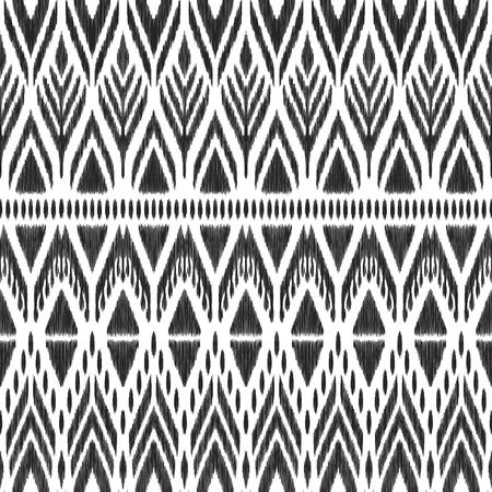 Ikat chevron seamless pattern. Abstract background in the boho ethnic style. Black and white vector illustration. Can be used for fabric textile, wallpaper, pillow design, home decor, print.