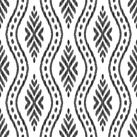 Ikat seamless pattern. Tribal background. Endless texture. Black and white vector illustration. Can be used for fabric textile, wallpaper, pillow design, home decor, print.