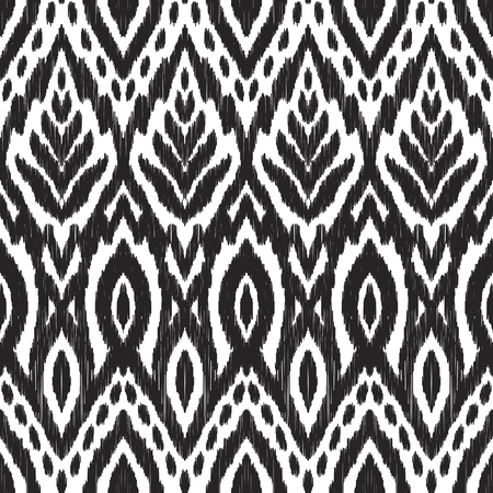 Seamless pattern with leaves elements. Abstract background in the boho style. Black and white textured vector illustration. Can be used for fabric textile, wallpaper, pillow design, home decor, print. Stok Fotoğraf