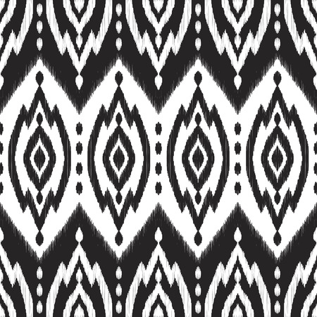 Ethnic seamless pattern. Black and white textured vector background. Modern wallpaper design in damask, moroccan, indian style. Stok Fotoğraf