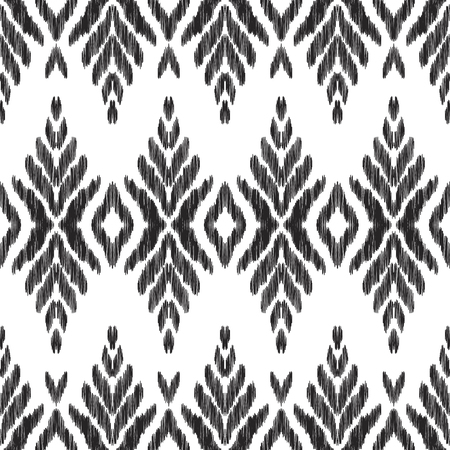 Abstract seamless pattern. Chevron background in the boho ikat ethnic style. Black and white vector illustration. Can be used for fabric textile, wallpaper, pillow design, home decor, print.
