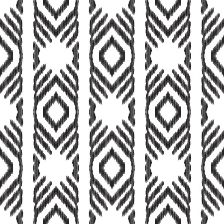 Tribal seamless pattern. Black and white vector illustration. Ethnic stripe ornament in the Aztec, Navajo and American Indian style. Can be used for textile, background, wallpaper or wrapping paper.