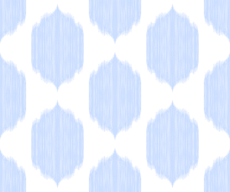 Ikat seamless pattern. Tribal background in uzbek, ottoman, arabic style. Blue and white texture. Vector illustration for fabric textile, pillow cover, bed lining, wallpaper, wrapping paper.