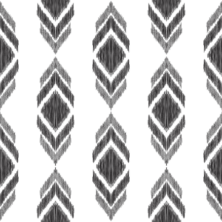 Tribal seamless pattern. Black textured elements on the white background. Fashion ikat chevron wallpaper. Vector illustration in ethnic style.