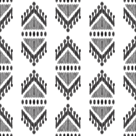 Black textured tribal elements on the white background. Ethnic Ikat seamless pattern. Vector illustration in modern atzec, boho style.