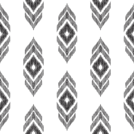 Ikat chevron background. Tribal seamless pattern. Black and white texture for surface design, fabric textile, home decor, wallpaper. Vector illustration in ethnic aztec, indian, peruvian style.