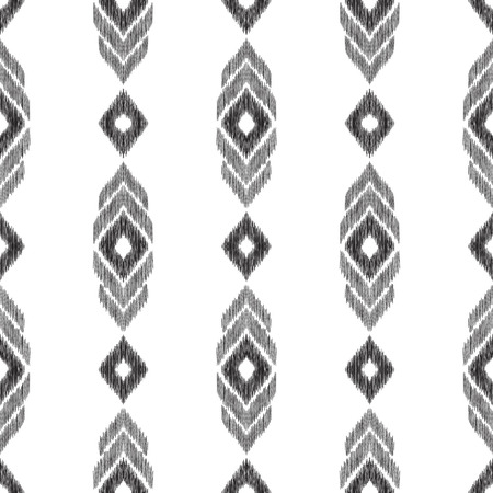 Ikat chevron background. Black and white tribal seamless pattern. Texture for print design, fashion fabric, home decor, wallpaper. Vector illustration in ethnic aztec, indian, peruvian, mexican style.