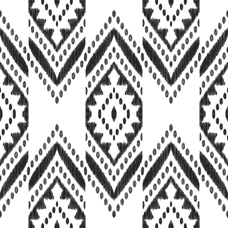 Chevron seamless pattern. Black and white textured background. Ethnic Ikat print. Vector illustration in modern aztec, navajo, boho style. Usable for textile, wallpaper, print.