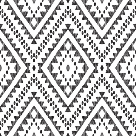Ikat chevron seamless pattern. Black and white tribal background. Textured vector illustration in modern aztec, navajo, mexican, indian boho style. Usable for fabric, wallpaper, textile.