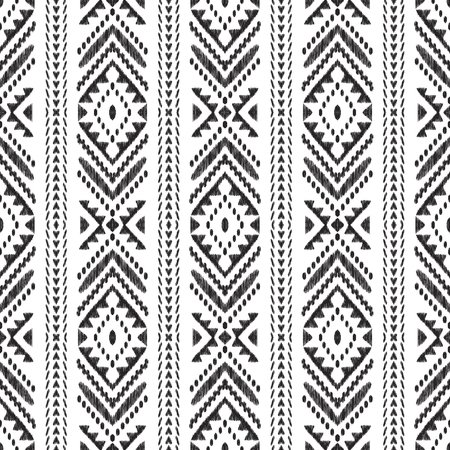 Chevron seamless pattern. Black textured tribal elements on the white background. Ethnic design in modern aztec, navajo, boho style. Ikat wallpaper. Vector illustration. Stok Fotoğraf