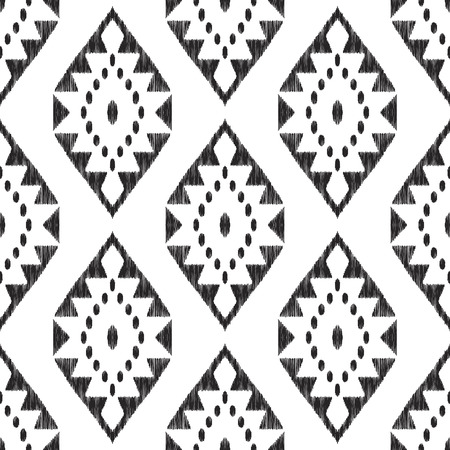 Ikat seamless pattern. Black and white ethnic background. Textured vector illustration in navajo, mexican, indian boho style. Usable for fabric, wallpaper, textile, surface print.