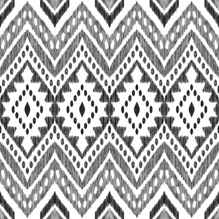 Aztec chevron seamless pattern. Black and white ikat background. Vector texture in modern navajo, cherokee, indian, mexican boho style. Can be used for textile design, wrapping paper, wallpaper.