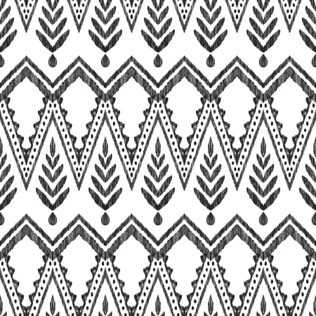 Tribal pattern. Seamless background. Scribble texture. Black and white graphic design. Creative vector illustration. Ethnic boho ornament. Can be used for textile, wallpaper, wrapping paper. 版權商用圖片