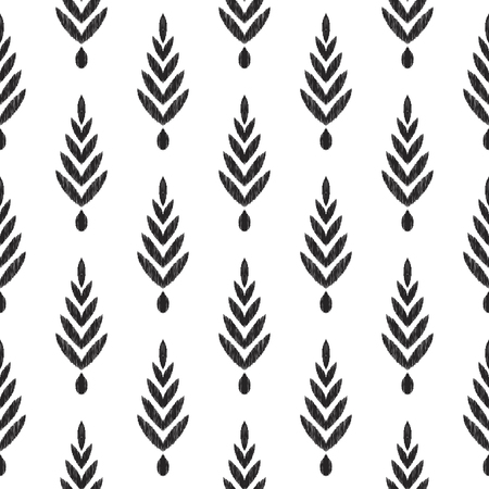 Tribal pattern. Herringbone seamless background. Ikat chevron wallpaper. Textured black and white graphic design. Can be used for textile, wrapping paper. Stok Fotoğraf