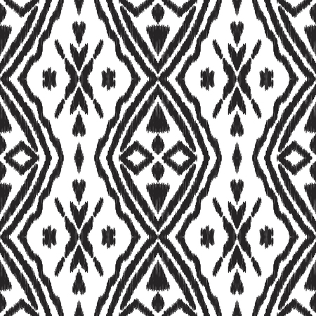 Modern boho seamless pattern. Ethnic background with black textured elements on the white. Used for pillow design, wallpaper, textile.