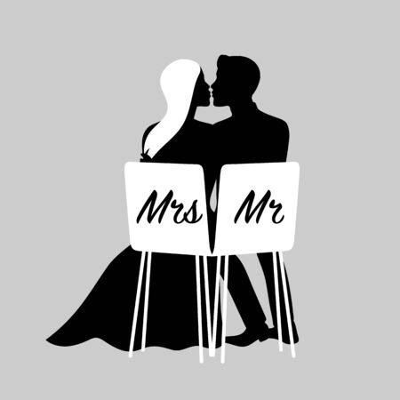 Silhouettes of kissing loving couple. Vector illustration of bride and groom for wedding invitation. Banco de Imagens