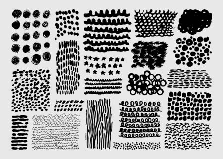 Vector set of abstract hand drawn textures made with ink. Isolated on white background. Black grunge elements like dots, lines, waves, strokes, circles, spots. Stok Fotoğraf