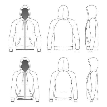 Komplet odzieży raglanowej bluzy z kapturem. Ilustracje wektorowe