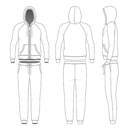 Clothing set of man hoodie and pants. Vetores